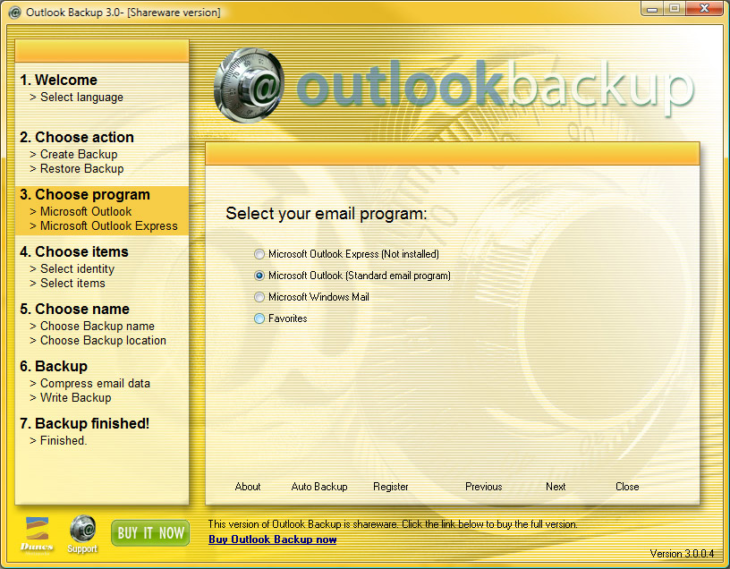 Click to view Outlook Backup 3.0.0.7 screenshot